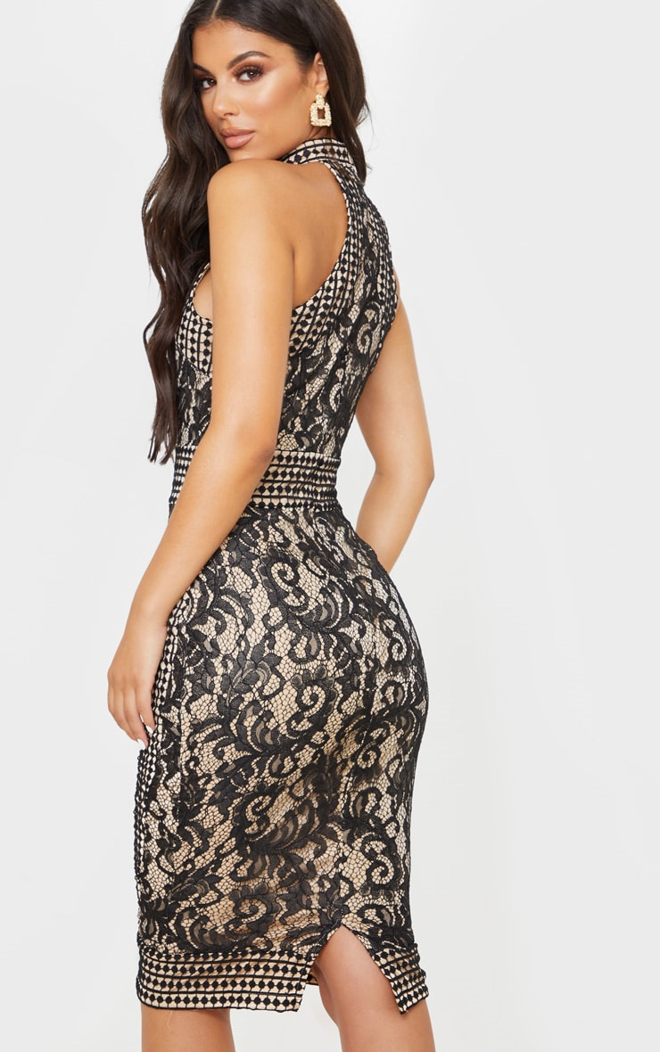 Black Lace Crochet High Neck Midi Dress 2