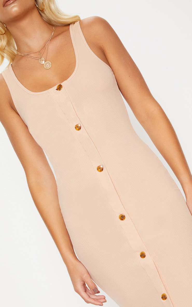 Stone Ribbed Button Detail Midi Dress 5