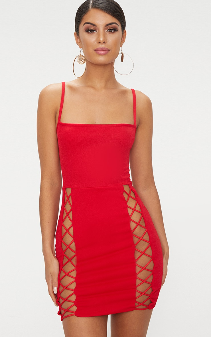Red Strappy Square Neck Lace Up Thigh Bodycon Dress 1