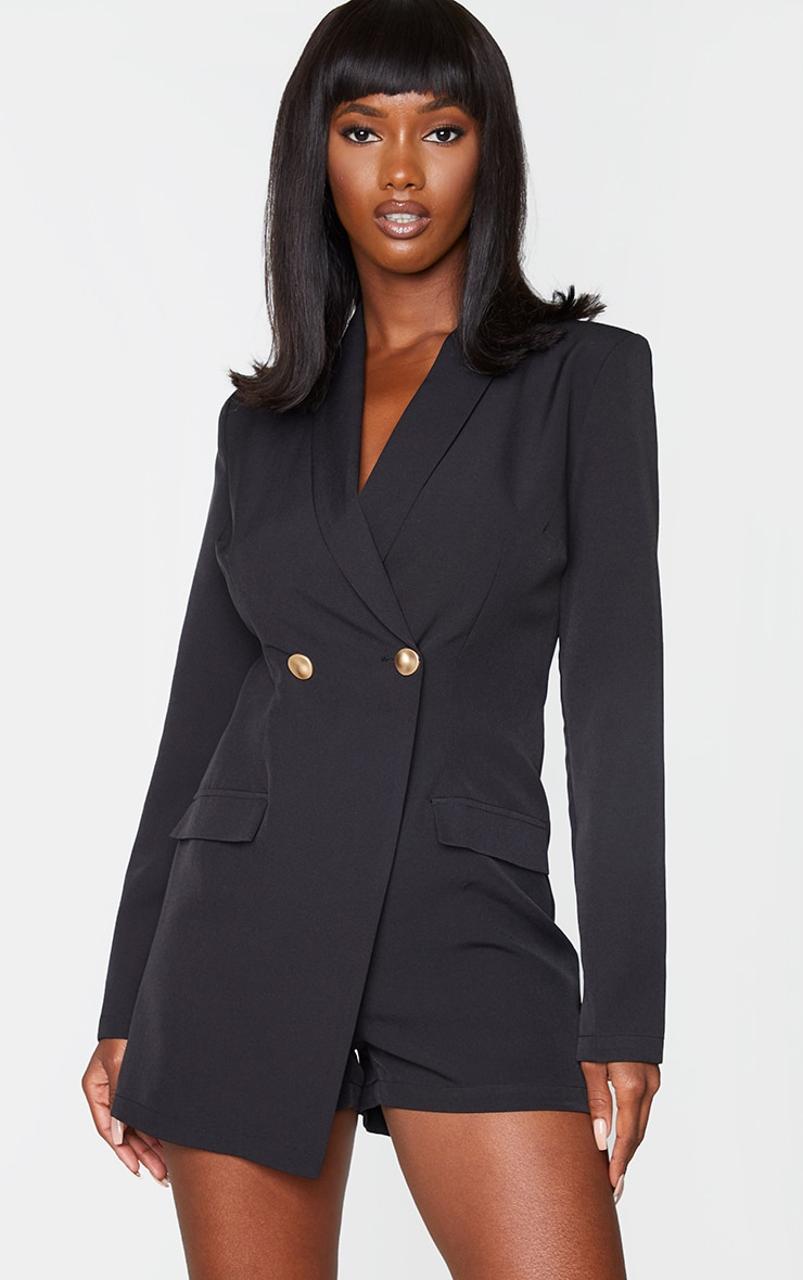 Black Gold Button Blazer Playsuit 1