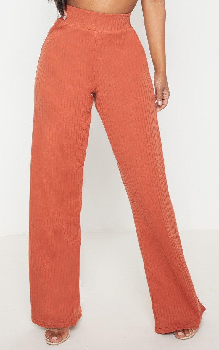 Shape Rust Ribbed Wide Leg Trousers 2