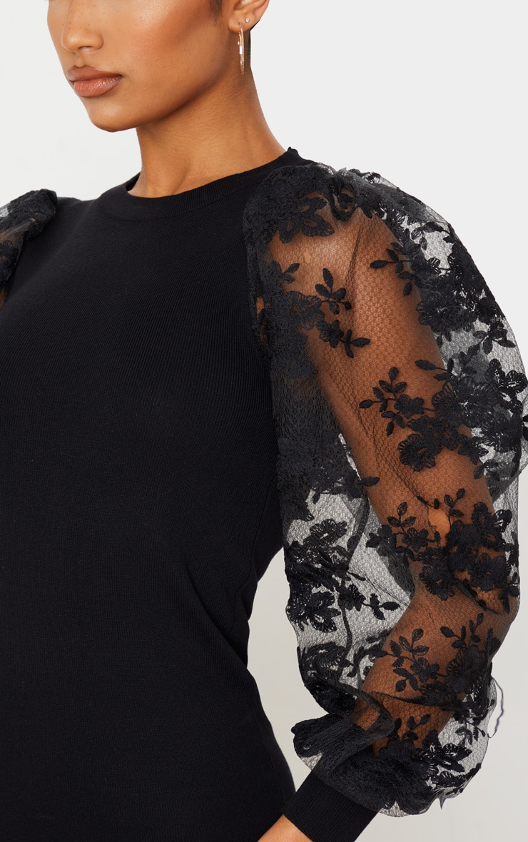 Black Embroidered Mesh Sleeve Knitted Dress 5