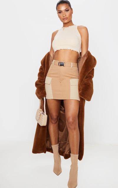 Stone Cargo Pocket Belted Mini Skirt