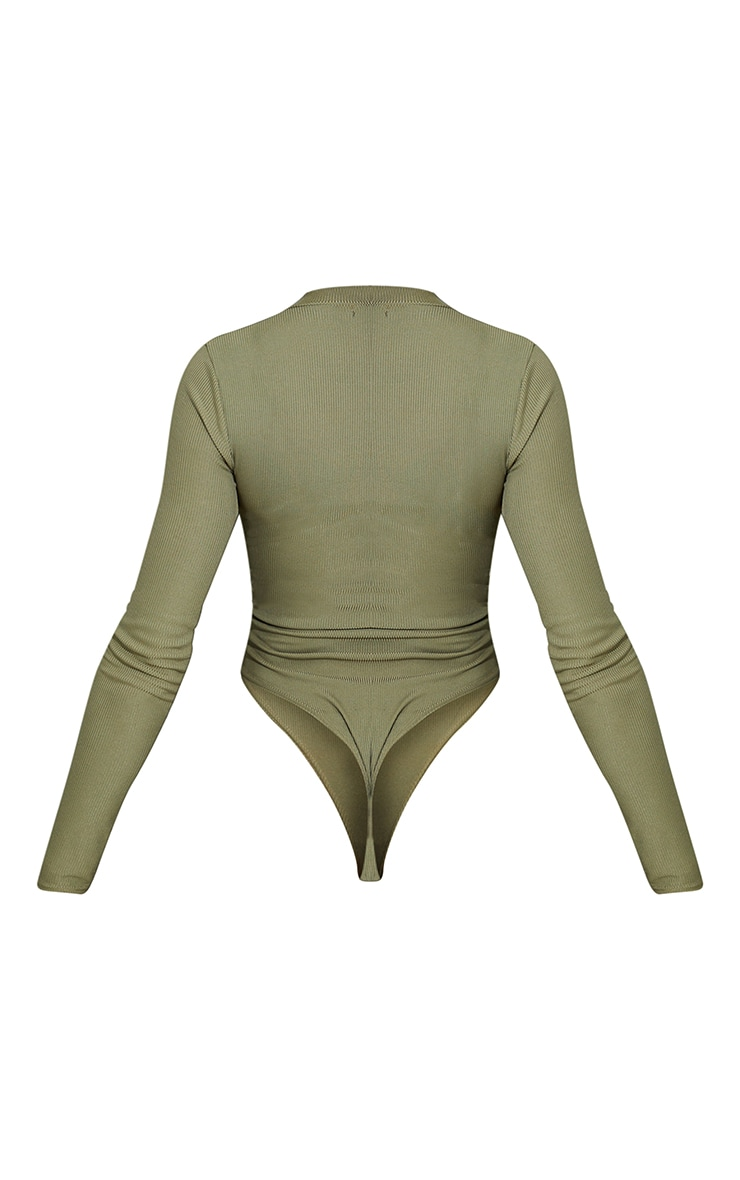 Khaki Rib Zip Up Long Sleeve Bodysuit 6