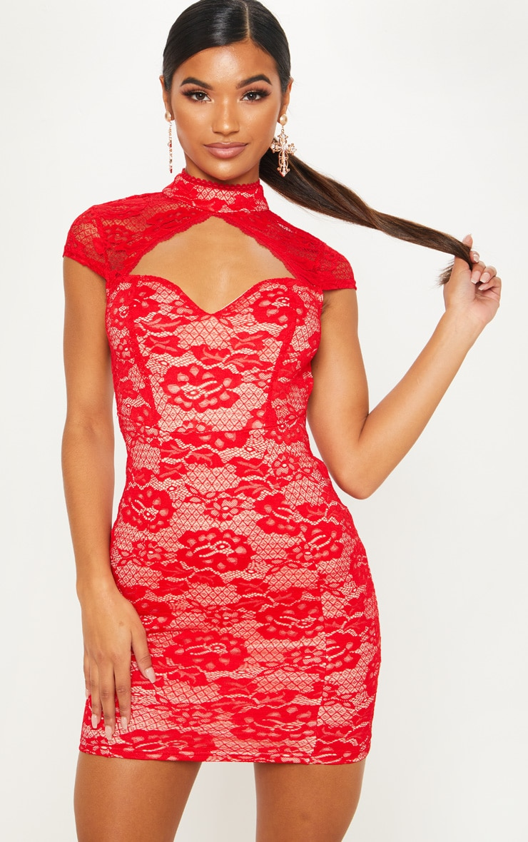 Red Lace Sweetheart Front Backless Bodycon Dress 4