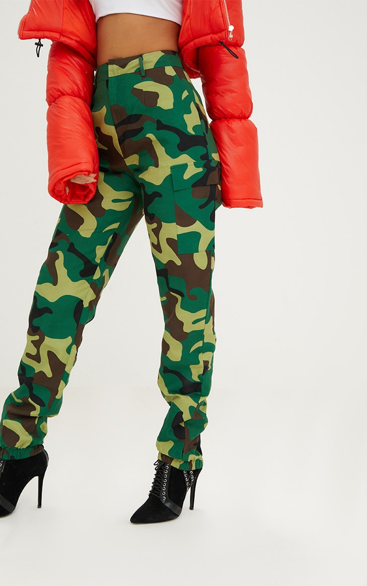 Green Camo Print Cargo Trousers 5