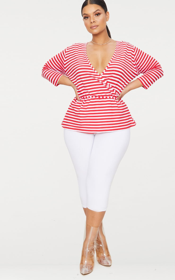 Plus Red Stripe Wrap Front Top 4