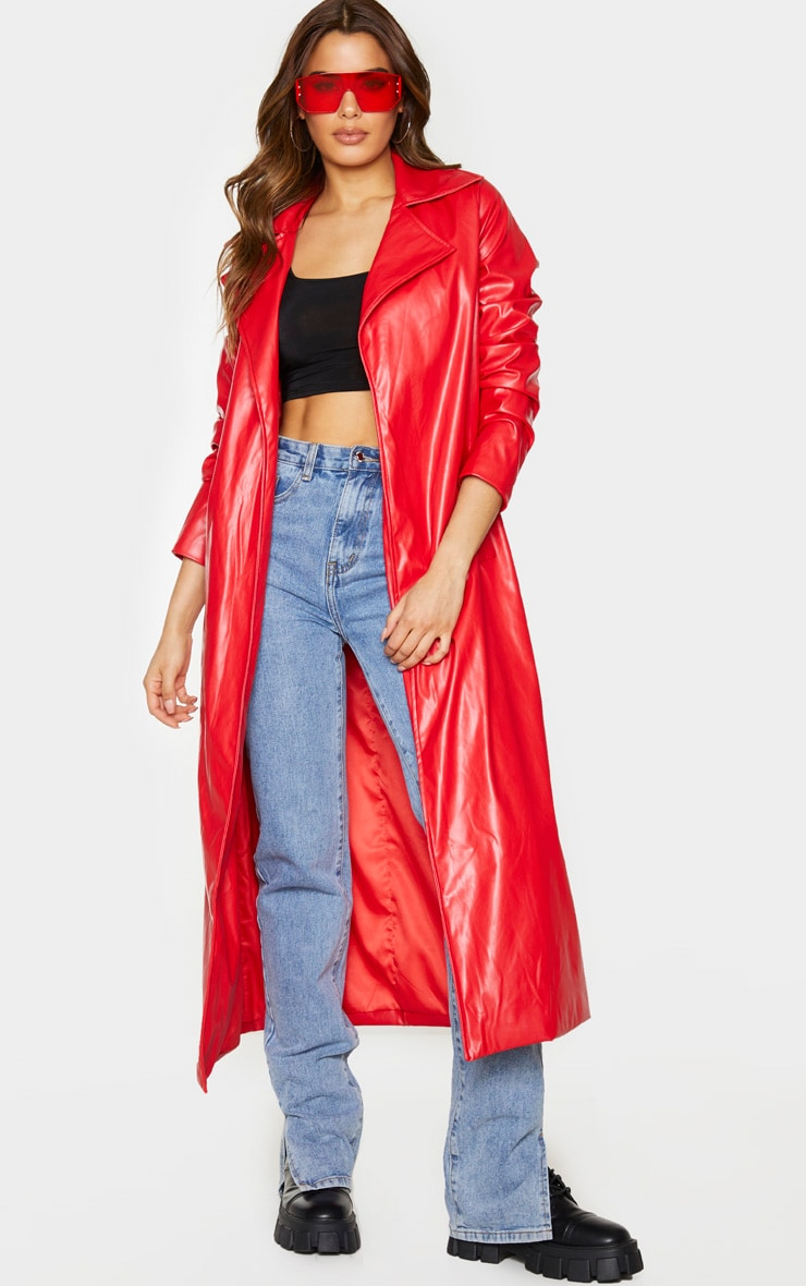 Tall Red PU Longline Trench 1
