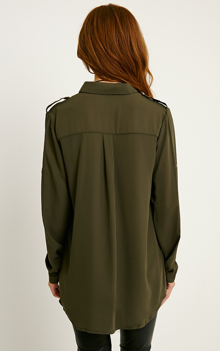 Bethan Khaki Utility Pocket Shirt 2
