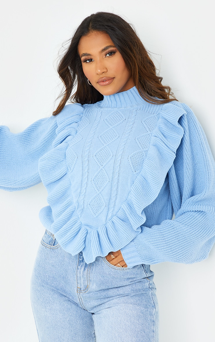 Baby Blue Frill Cable Turtle Neck Jumper 4