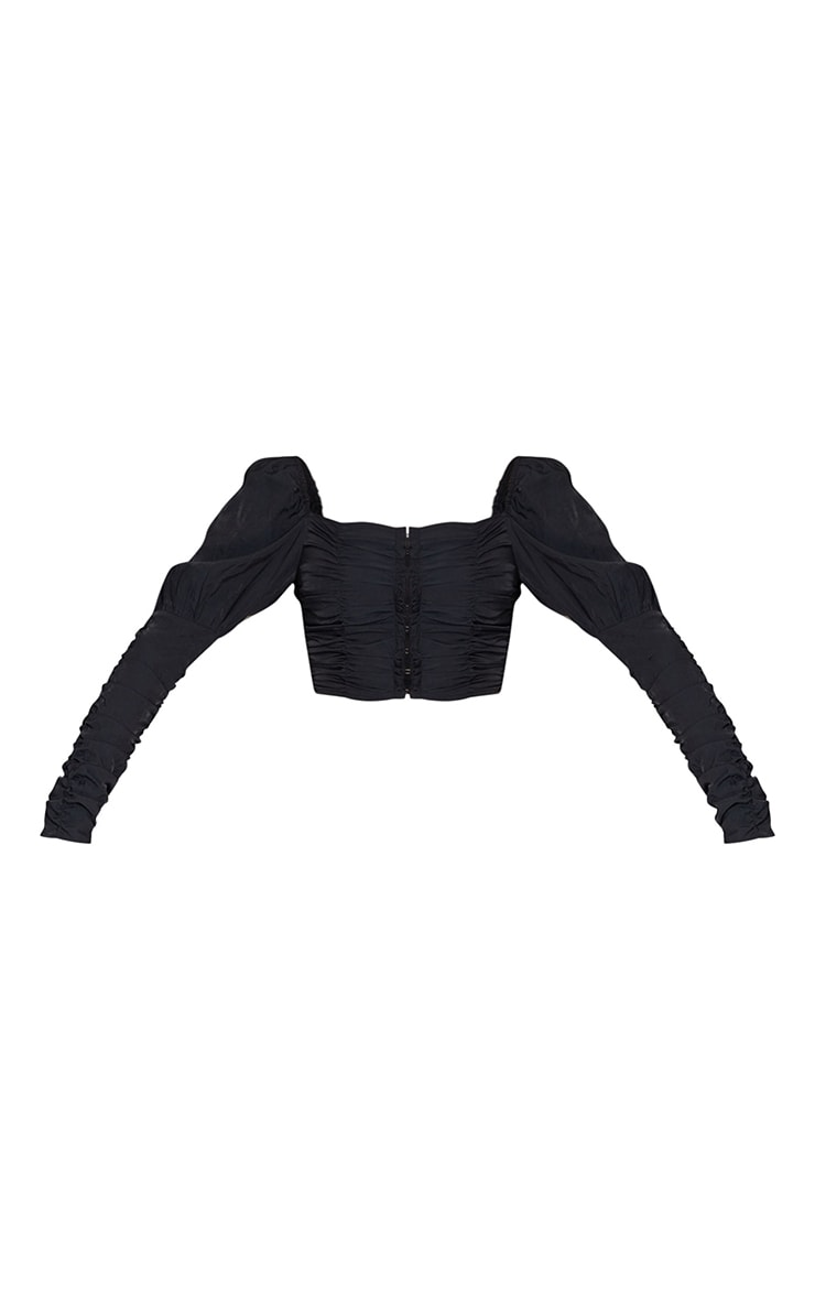 Black Woven Multi Ruched Hook And Eye Puff Sleeve Crop Top 5