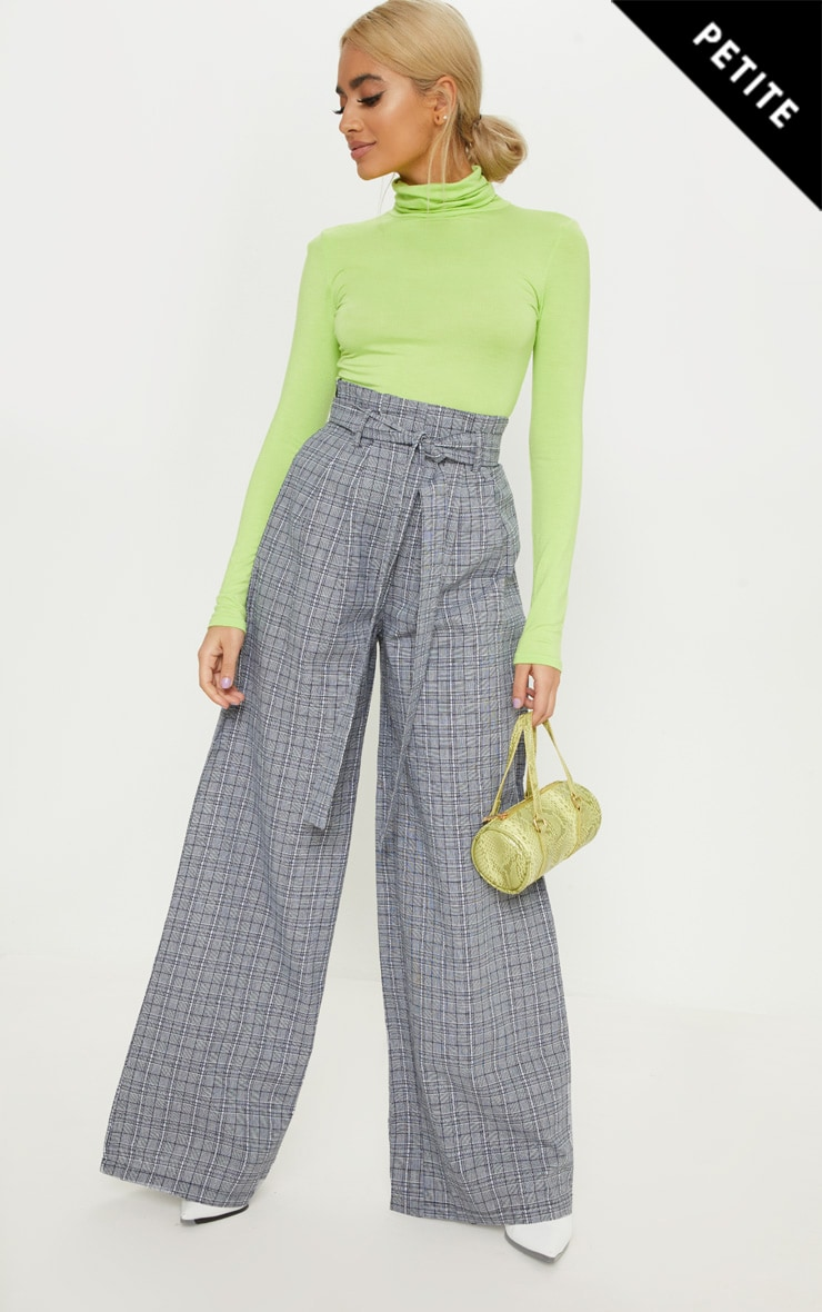 Petite Grey Checked High Waisted Paper Bag Wide Leg Trouser