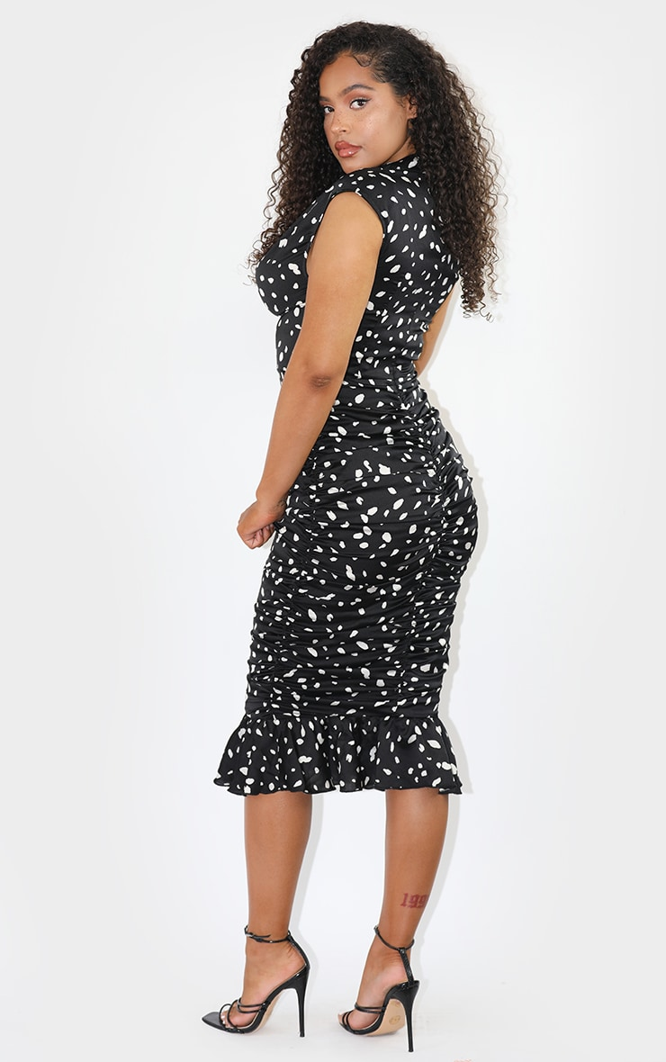 Black Dalmatian Print Sleeveless Ruched Fishtail Midi Dress 2