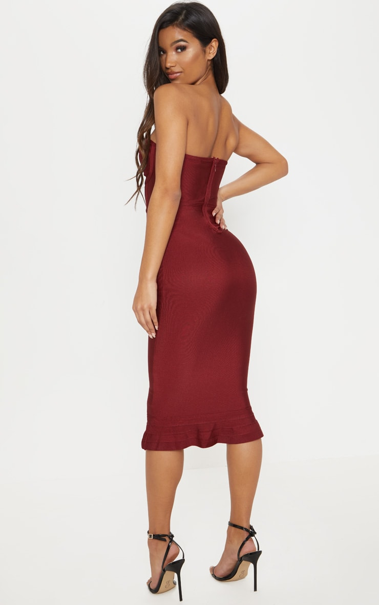 Dark Red Bandage Frill Hem Midi Dress 2