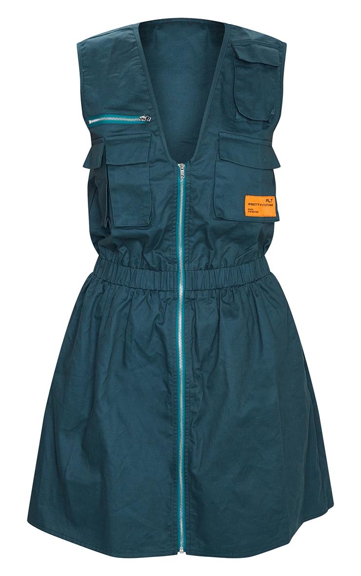 Emerald Green Pocket Zip Detail Sleeveless Utility Dress 5