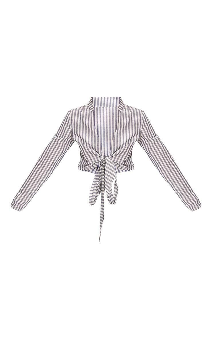 Blanche Navy Stripe Tie Waist Blouse 3