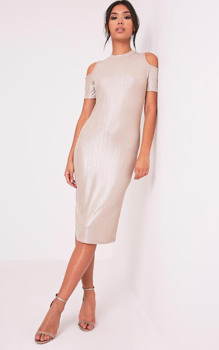 Avaery Champagne Metallic Cold Shoulder Midi Dress 5