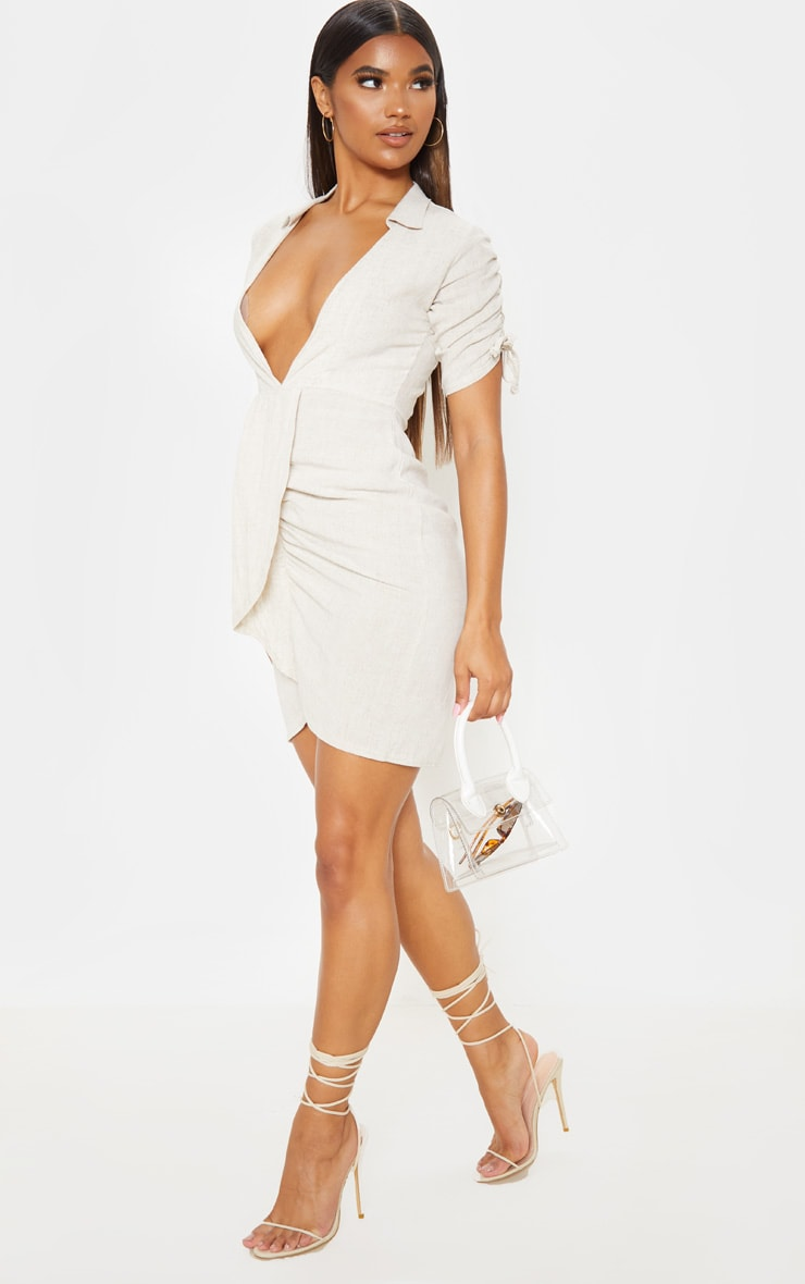 Stone Linen Ruched Sleeve Deep Plunge Bodycon Dress 4