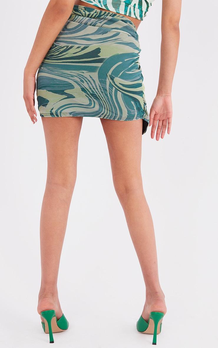 Tall  Green Zebra Print Wrap Mini Skirt 3
