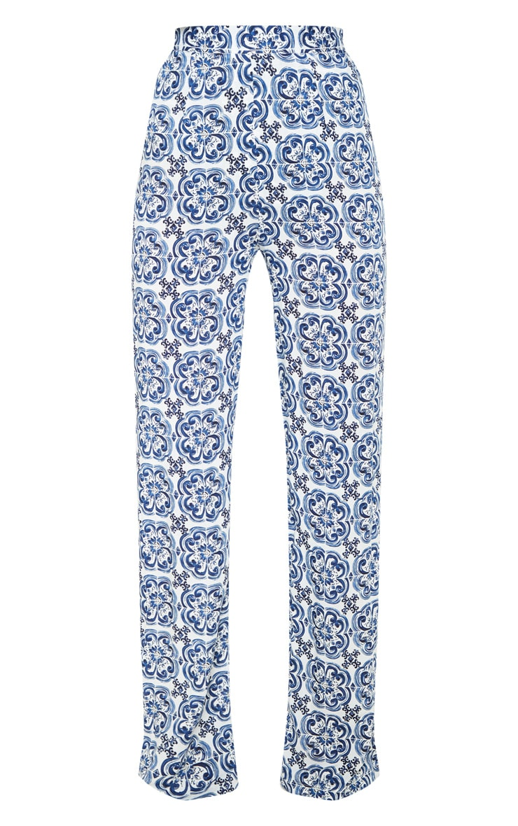 White Wide Leg Trouser Floral Pants 3
