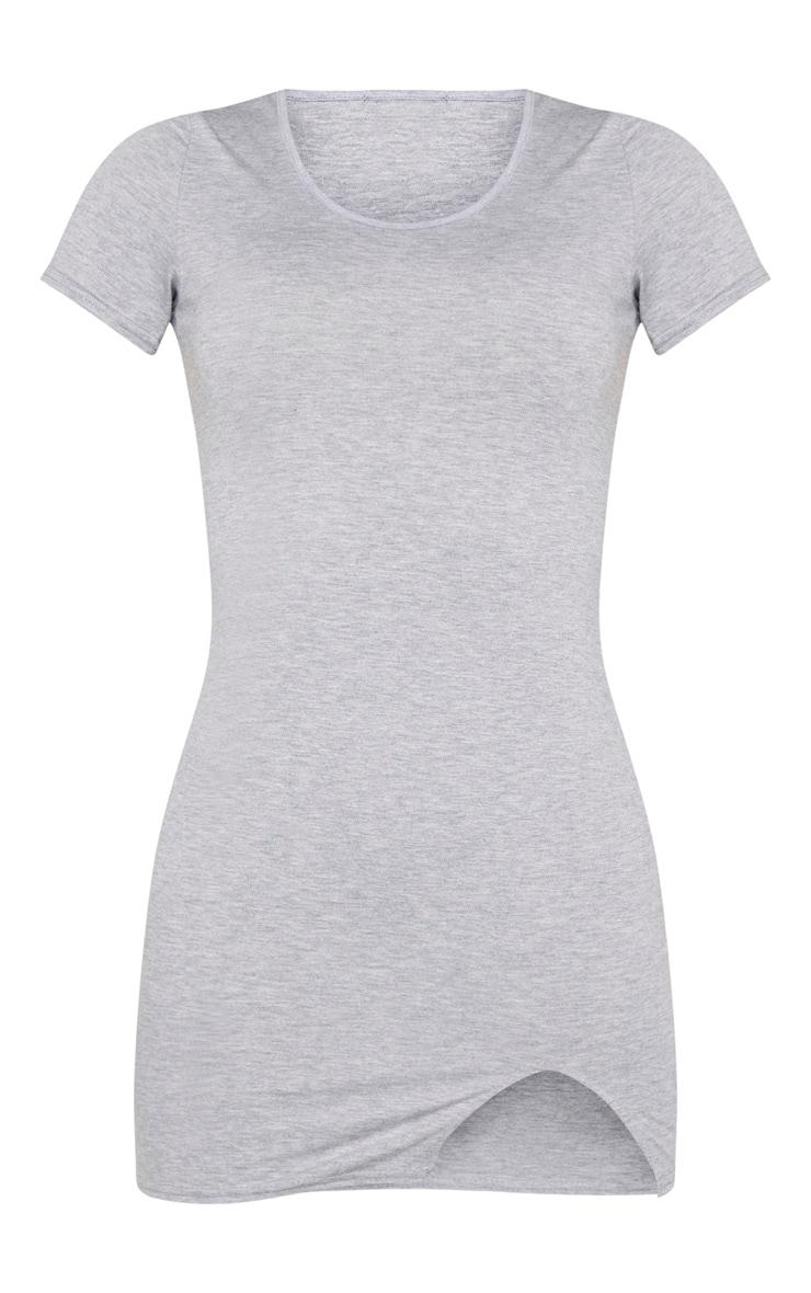 Tall Grey Marl Basic Short Sleeve Split Mini Dress  3