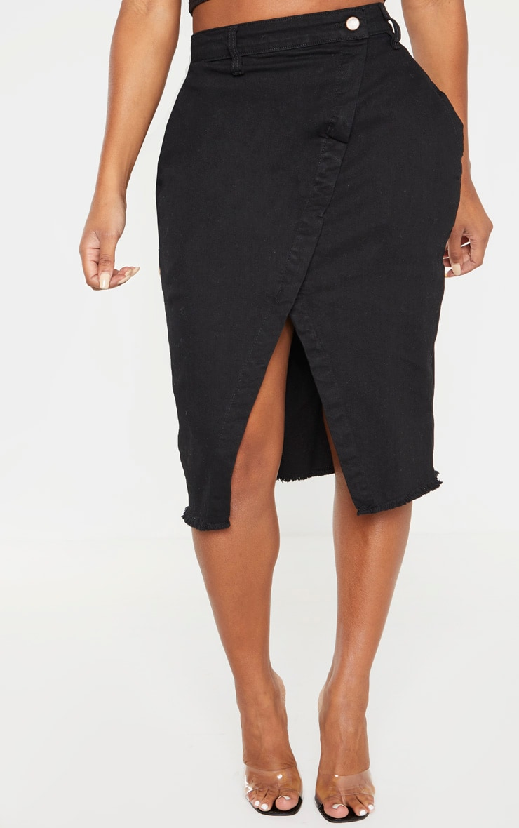 Shape Black Wrap Denim Midi Skirt 2