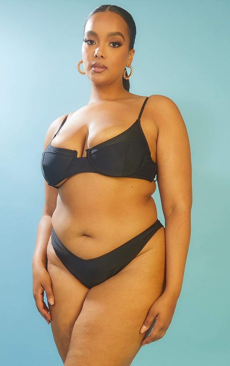 Recycled Plus Black Mix & Match Underwired Balconette Bikini Top 1
