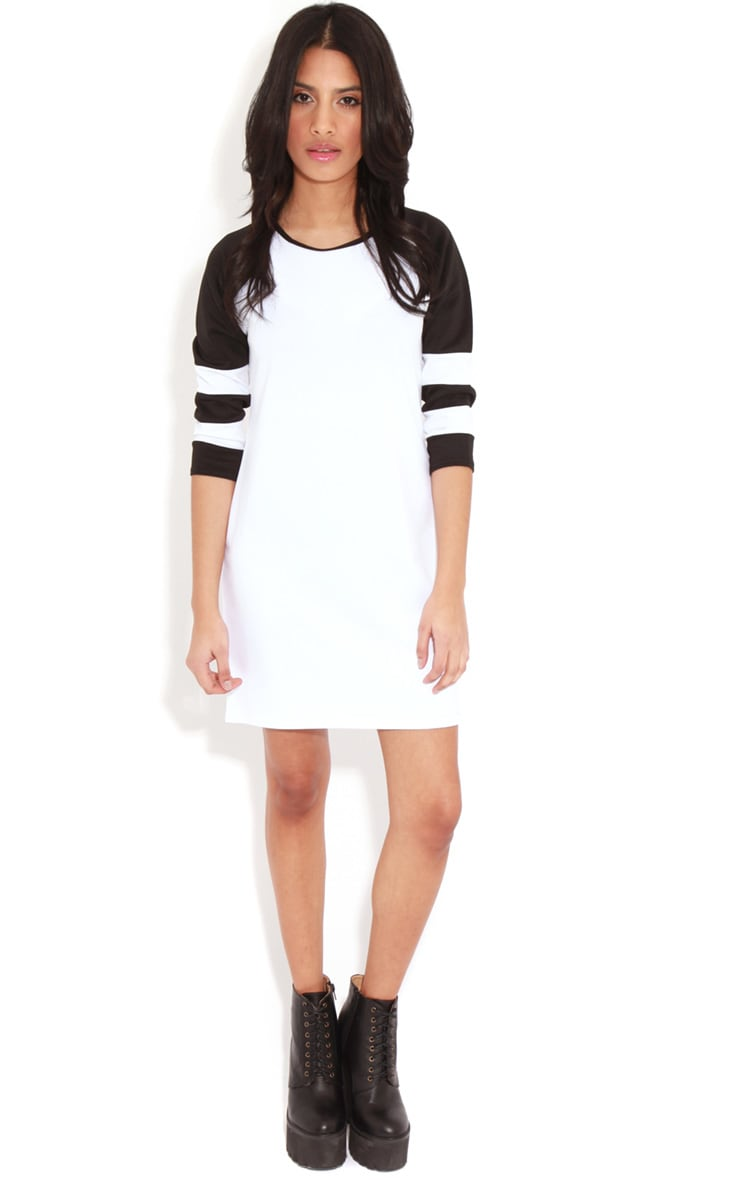 Jolyn Monochrome Stripe Scuba Dress 3