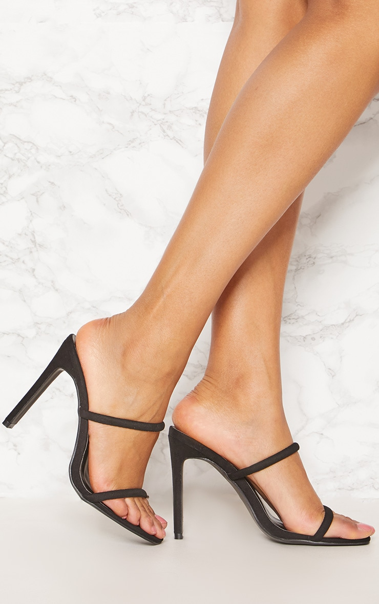 Black Twin Strap Flat Heel Mule