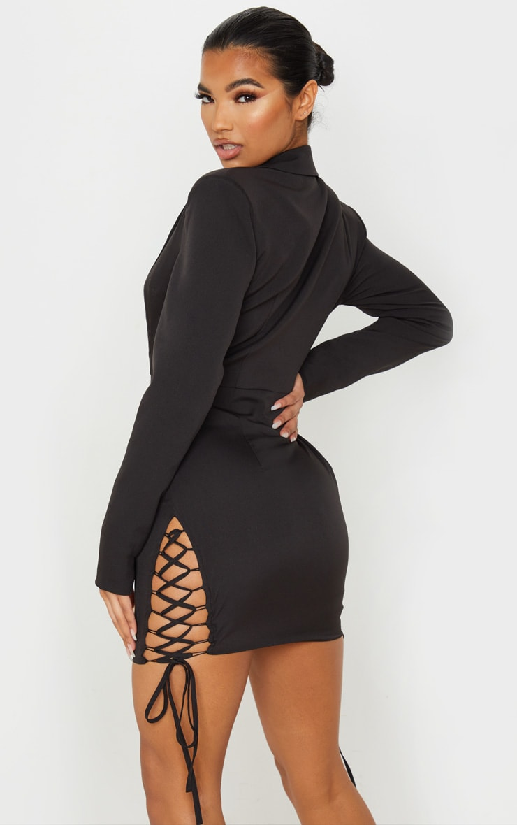 Black Hook And Eye Lace Up Detail Long Sleeve Blazer Dress 2