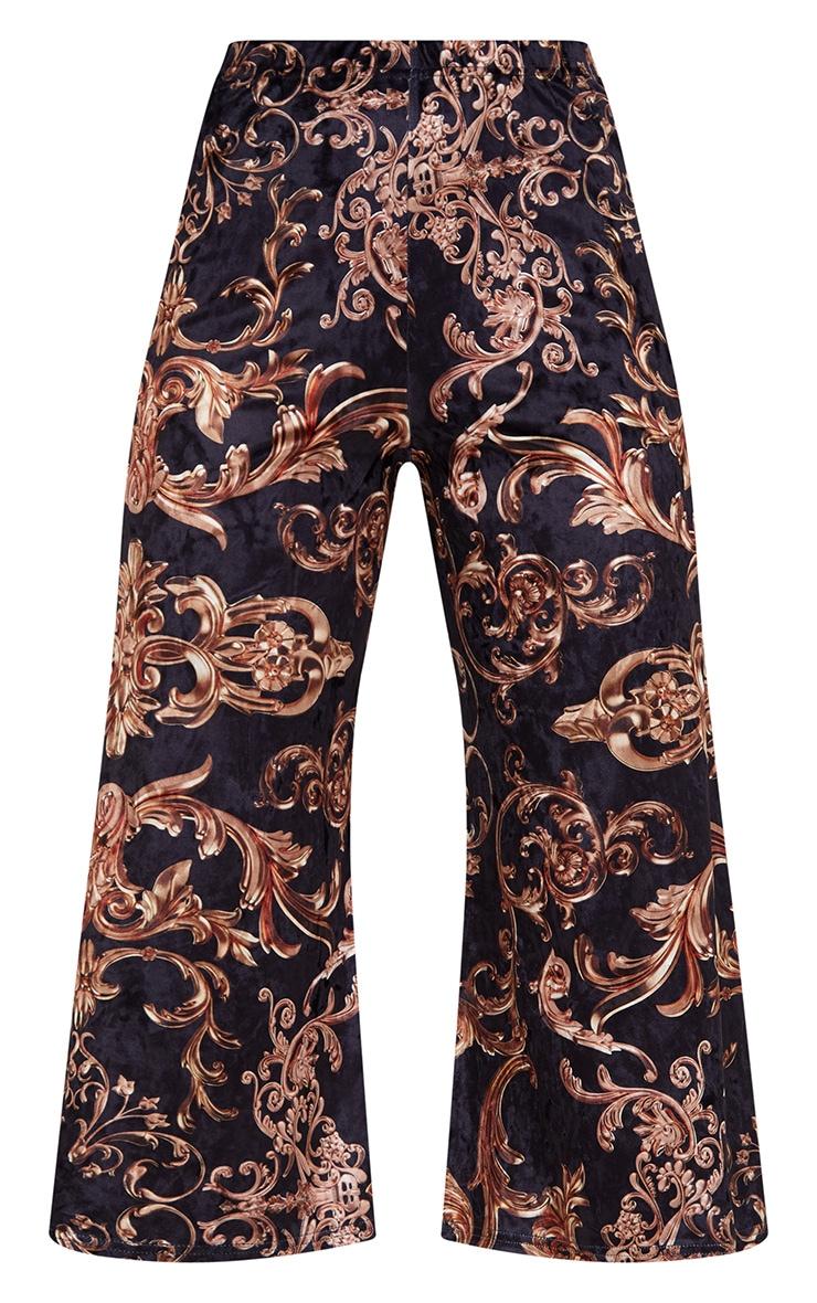 Navy Velvet Ornate Print Culottes 3