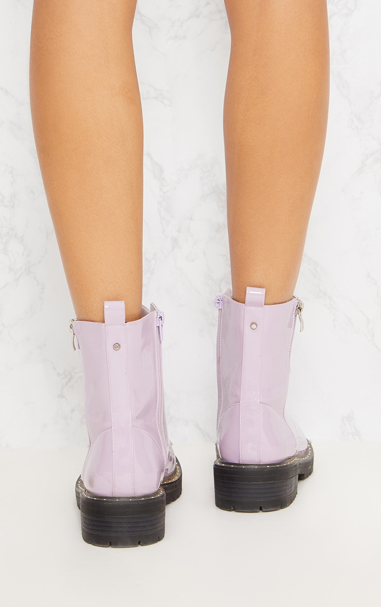 Lilac Chunky Lace Up Boot 5
