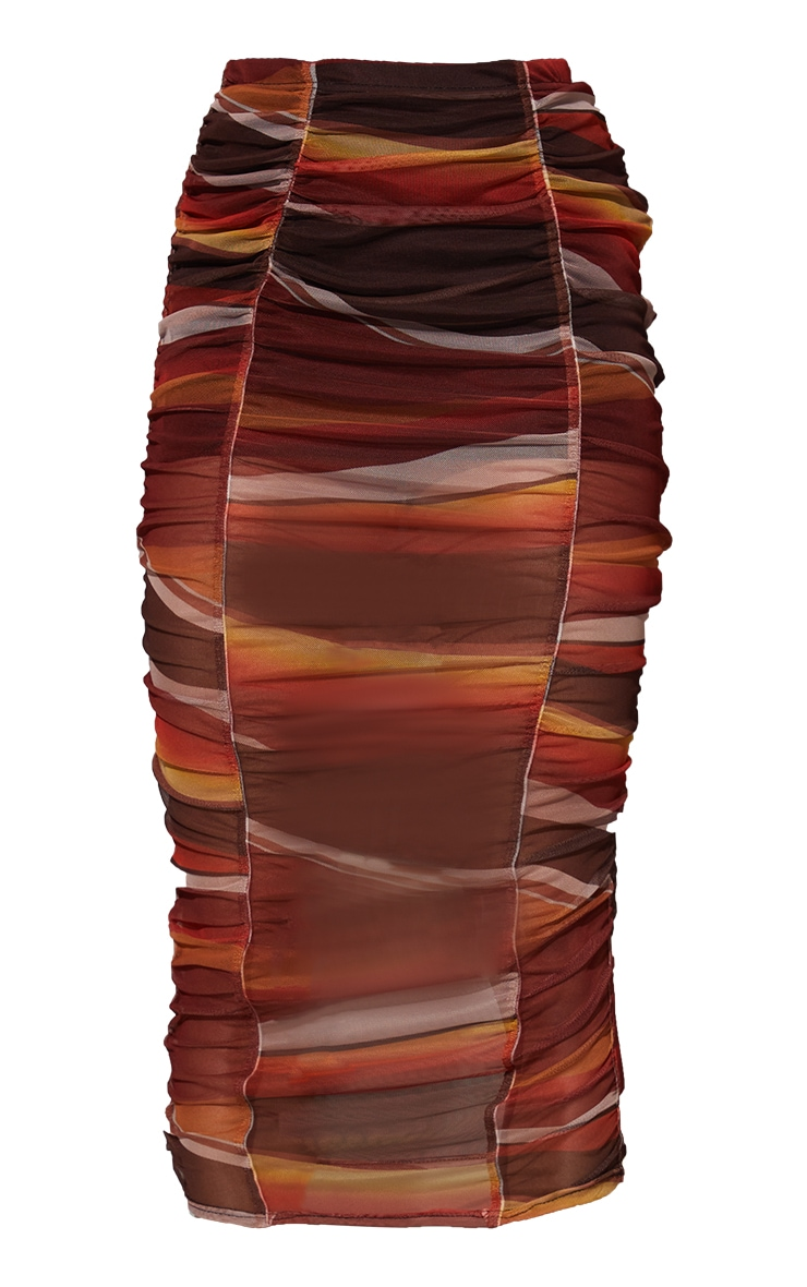 Orange Ombre Stripe Print Mesh Ruched Overlay Maxi Skirt 5