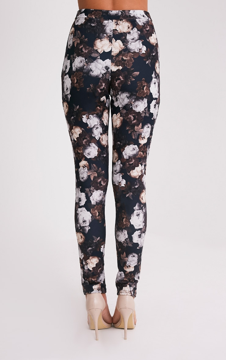 Calissa Black Floral Crepe Cigarette Trousers 5