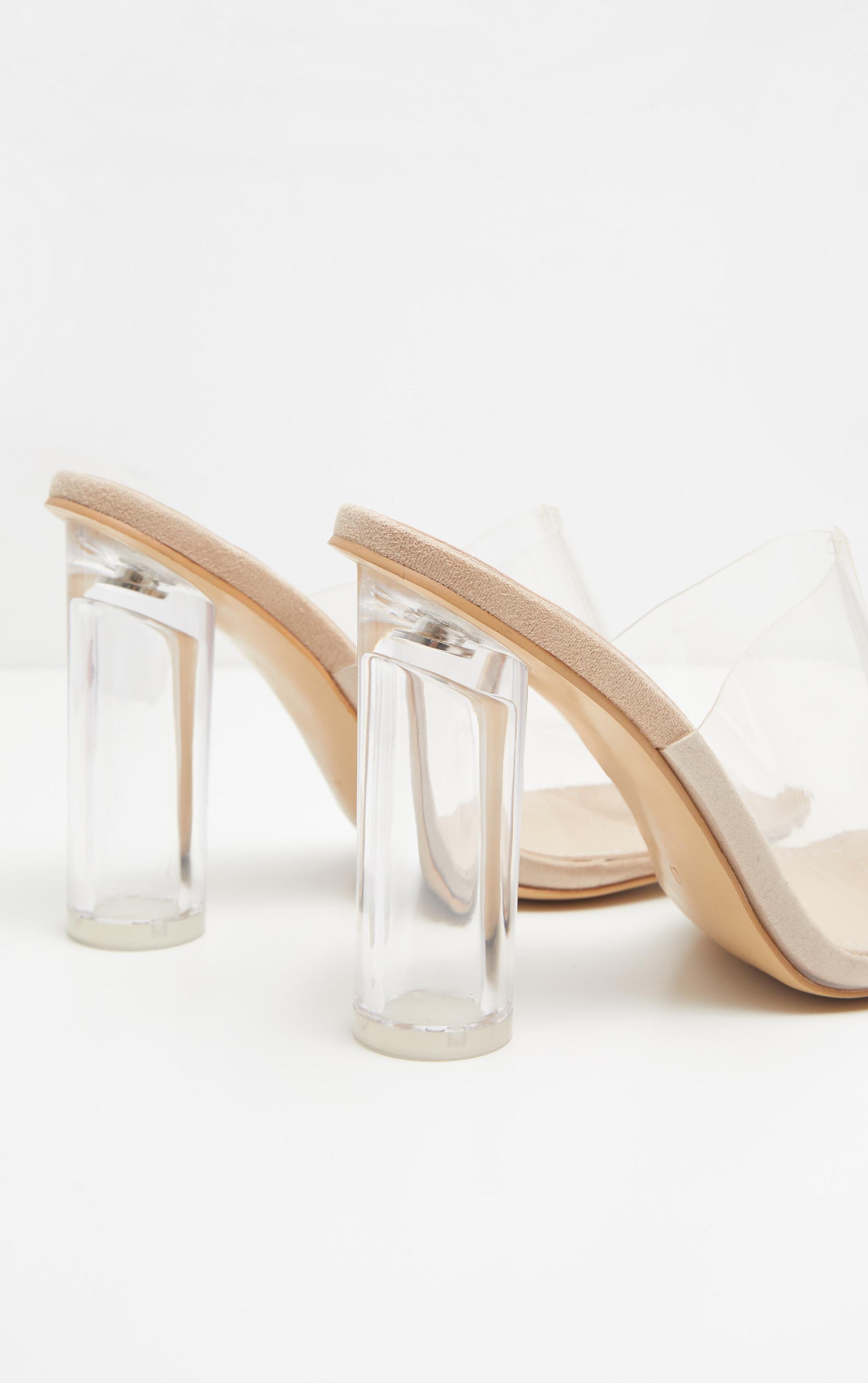 Nude Clear Block Heel Mule Sandal  4