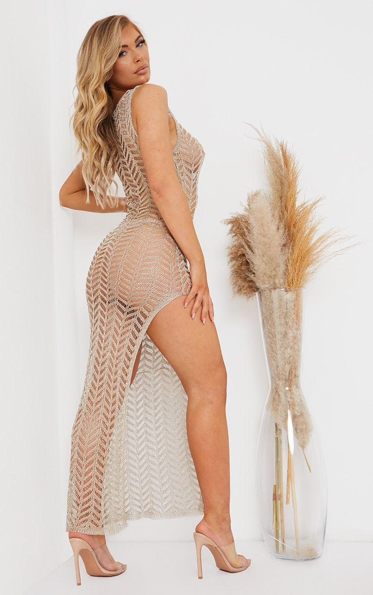 Gold Metallic Chevron Side Split Maxi Dress 2