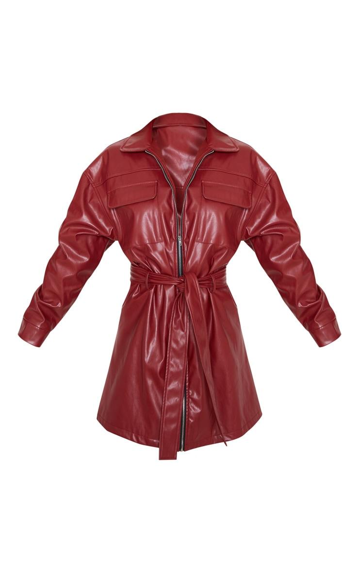 Petite Burgundy Belted PU Jacket Dress  3