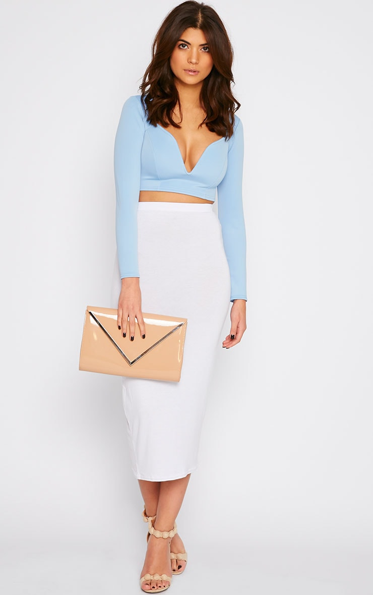 Honi Blue Sweetheart Scuba Crop Top  4