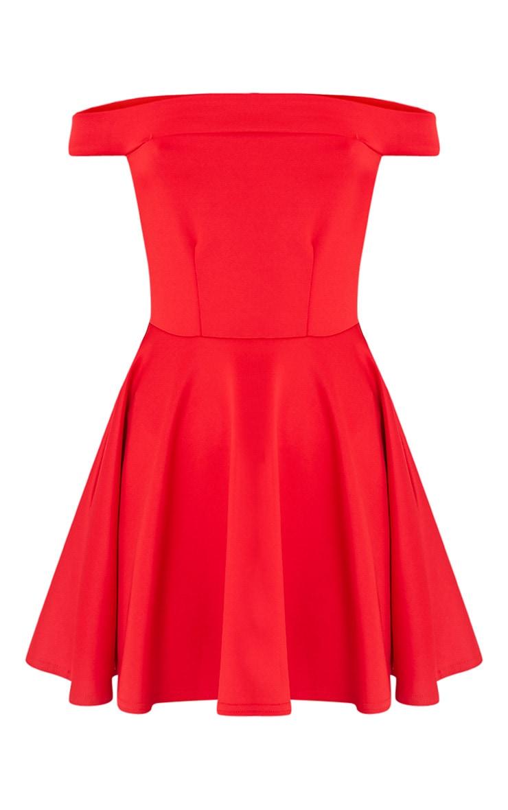 Monica Red Bardot Skater Dress 3