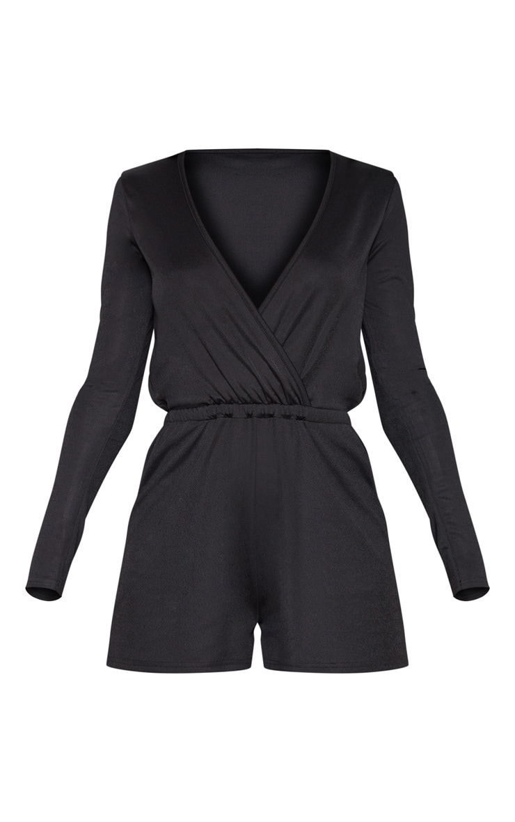 Black Long Sleeve Wrap Front Romper 3