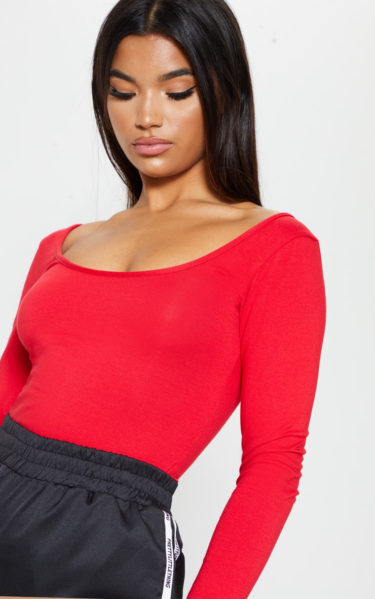 Red Cotton Scoop Neck Long Sleeve Top 4