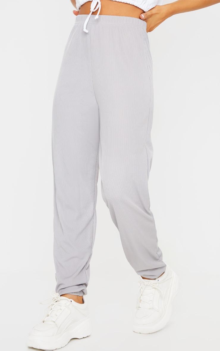 Grey Ribbed Casual Joggers 2