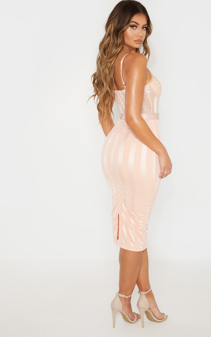 Dusty Pink Lace Detail Striped Mesh Midi Dress 2