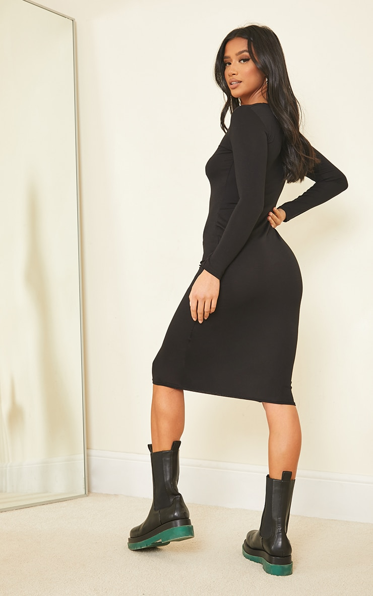 Petite Black Long Sleeve Jersey Midi Dress 2