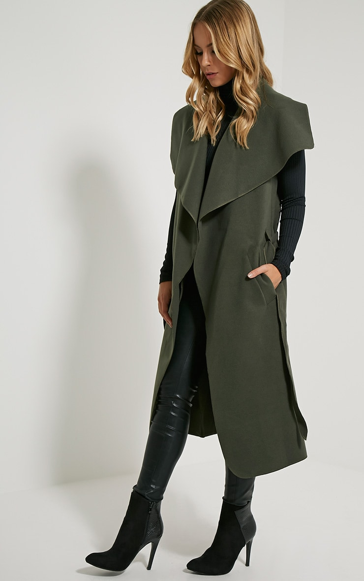Valerie Dark Khaki Sleeveless Waterfall Coat 3