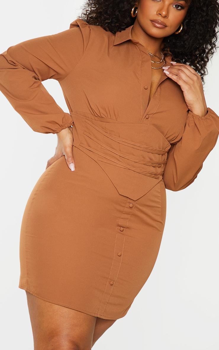 Plus Chocolate Brown Corset Detail Puff Sleeve Dress 4