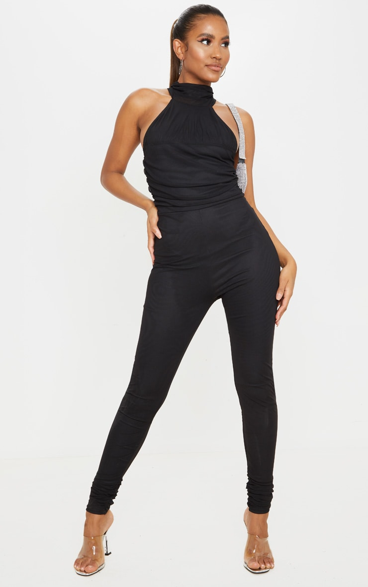 Black Ruched Mesh High Neck Jumpsuit 3