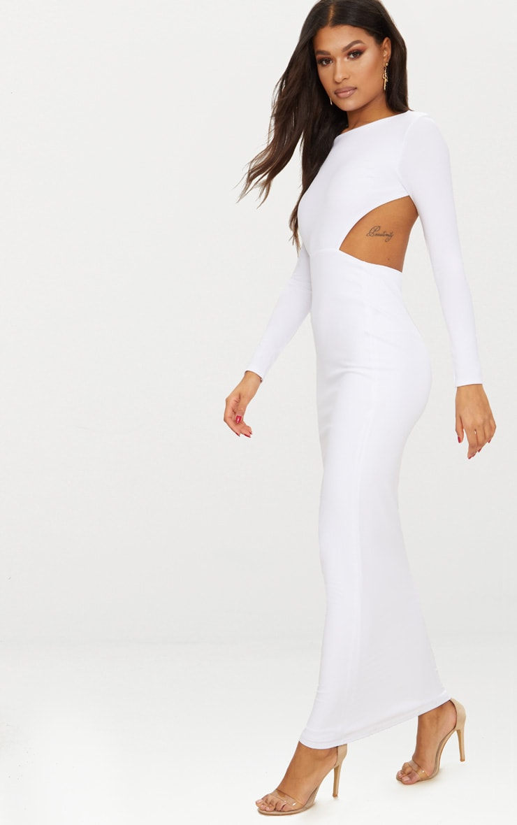 White Backless Long Sleeve Maxi Dress 4