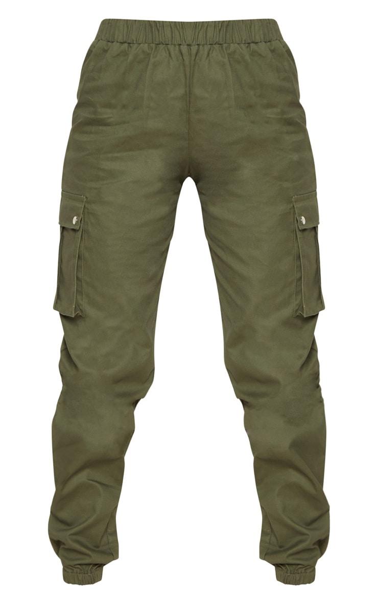 Petite Khaki Pocket Detail Cargo Trousers 3
