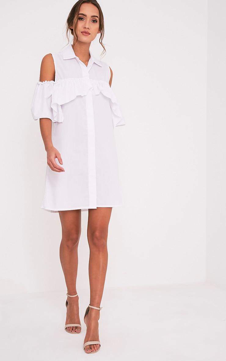 Ashlee White Cold Shoulder Frill Detail Shirt Dress 5